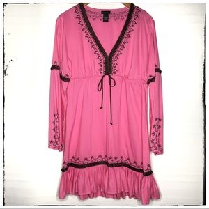 Moda Pink Boho Embroidered Dress Tunic Large